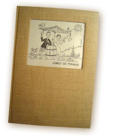 Un ejemplo de un libro de firmas con la caricatura de los novios