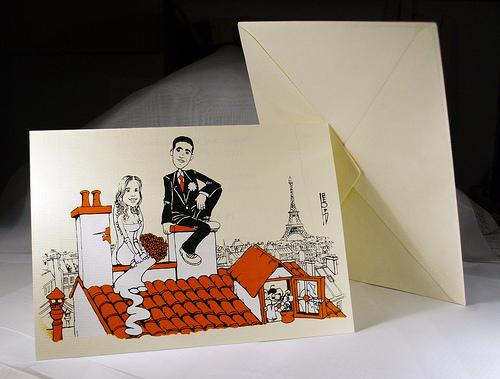 Invitaciones con caricaturas de los novios