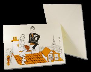 Invitación de boda original en su sobre. Caricatura de pareja en los tejados de París