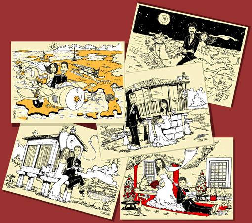 invitaciones de boda con caricatura