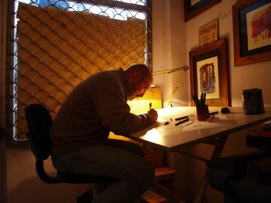 Javier Urrea en su taller