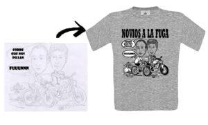 Ejemplo del proceso de boceto a lápiz a simulación sobre camiseta