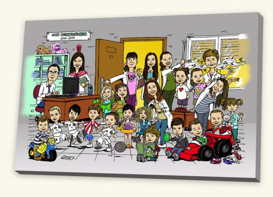 orla de fin de curso con la caricatura de alumnos y profesores